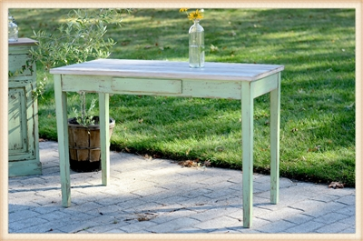 Distressed Green Desk or Sofa Table